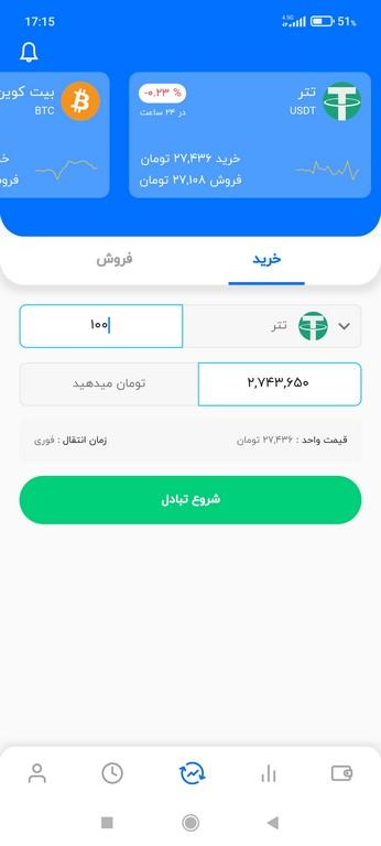 خرید تتر از اپلیکیشن بیت 24